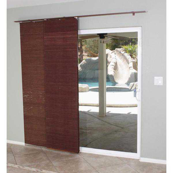 Radiance Mahogany Flat Privacy Panel Track Sliding Shade - 78 x 84