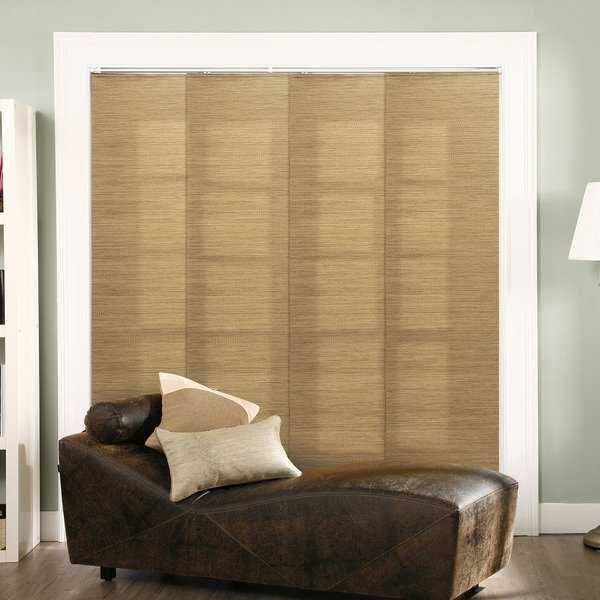Chicology Adjustable Sliding Panel, Frontier - Natural Woven, Privacy, 80'W X 96'H - French Sandalwood
