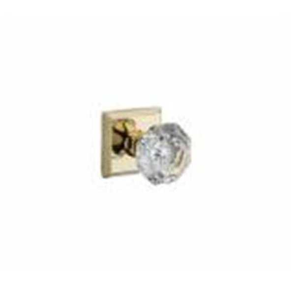Crystal Passage Door Knob Set with Traditional Square Trim,